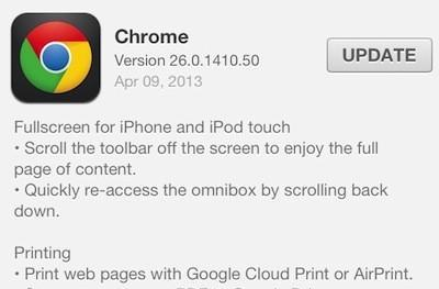 Chrome for iOS now includes Google Cloud Print, AirPrint, and fullscreen browsing