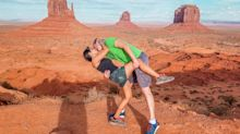 All over the world! Couple capture their global dip-kisses at landmark locations