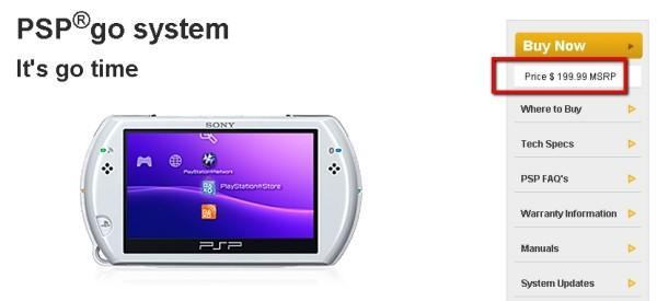 PSP Go price cut quietly slinks away, now priced at original $200 MSRP