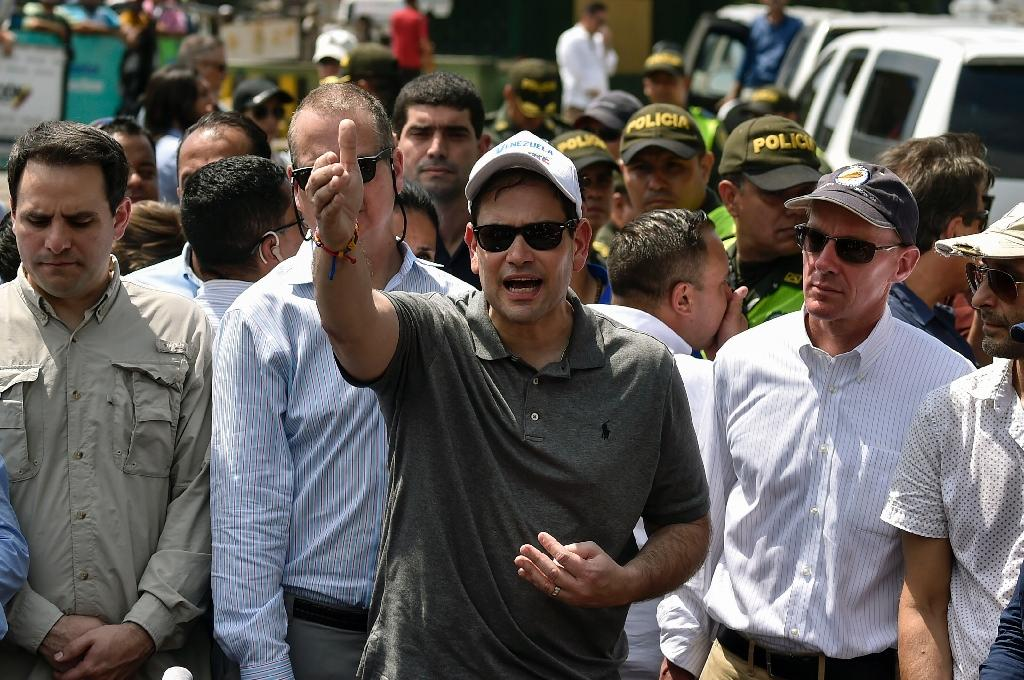 Rubio arrived Sunday in Cucuta for a first-hand look at the aid operations (AFP Photo/Luis ROBAYO )