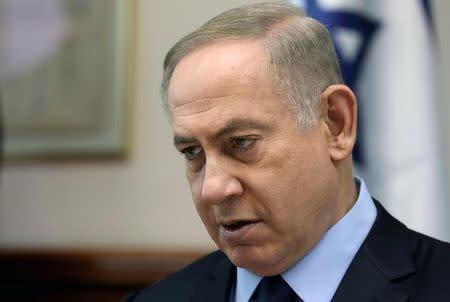 Israeli Prime Minister Benjamin Netanyahu chairs the weekly cabinet meeting in Jerusalem