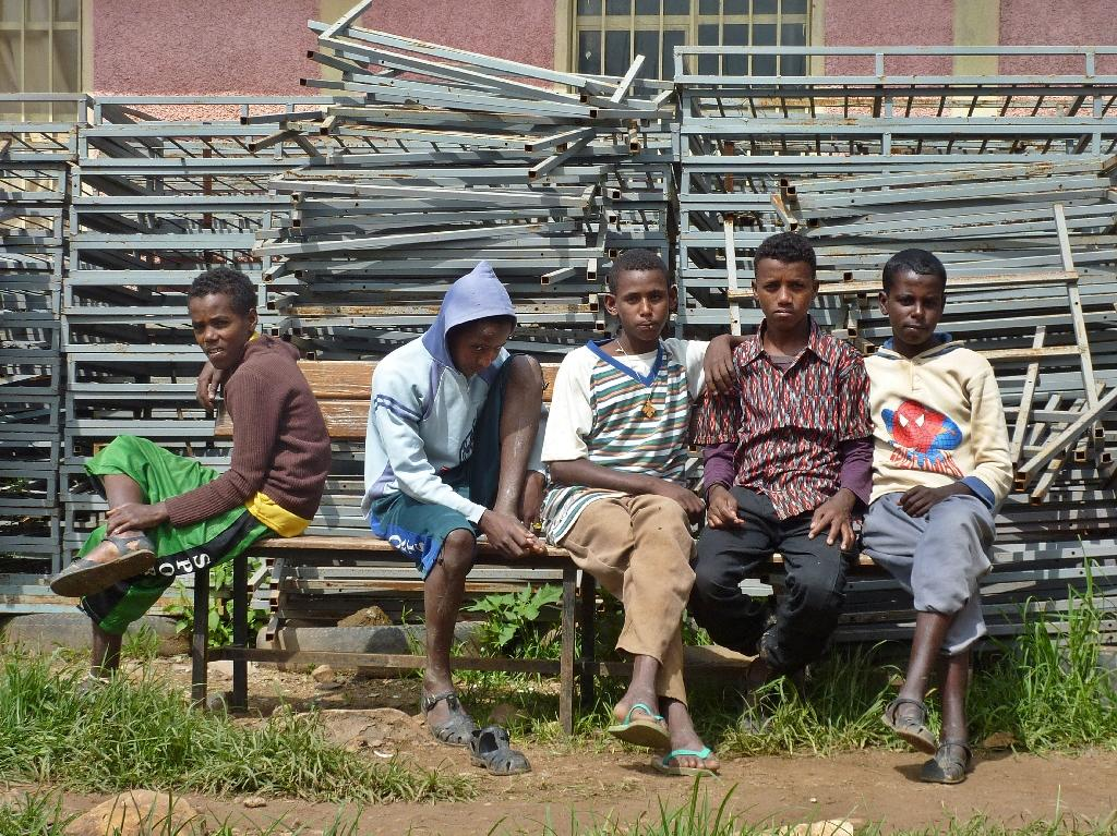 A group of young Eritrean refugees pictured on August 28, 2011 at Endabaguna camp in northern Ethiopia, home to 1,100 unaccompanied minors that have fled forced conscription in their home country (AFP Photo/Jenny Vaughan)
