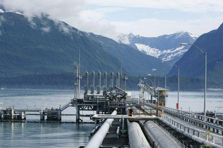 A mooring station for oil tankers can be seen at the Trans-Alaska Pipeline Marine Terminal in Valdez, Alaska