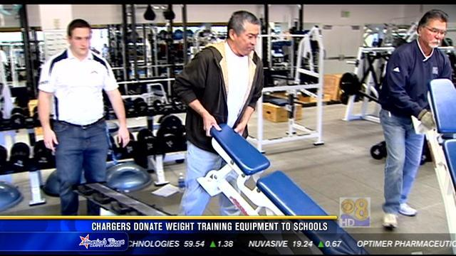 Chargers donate weight training equipment to schools