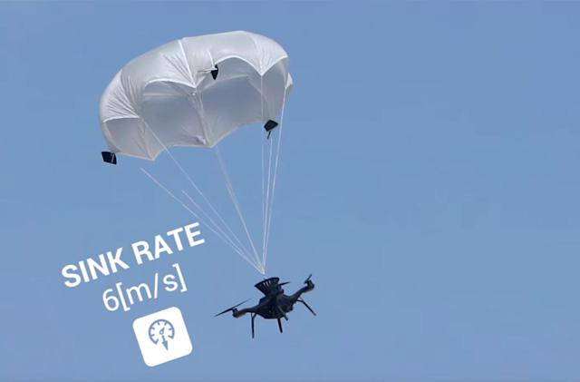 Watch a parachute rescue a drone in free fall