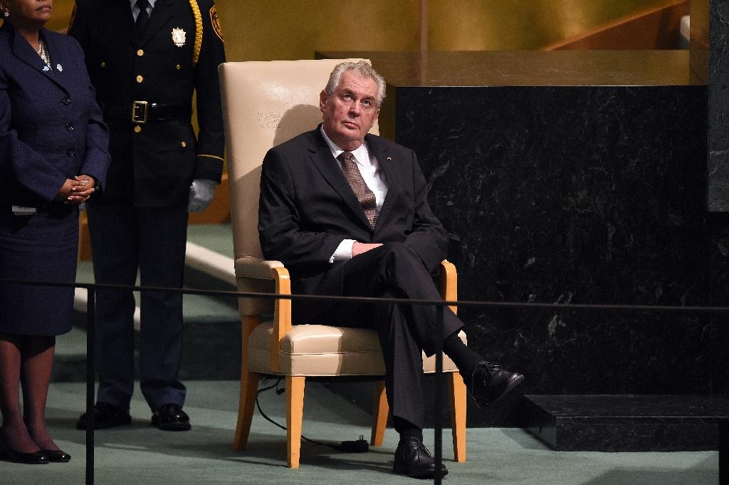 Czech Republic's President Milos Zeman waits to address the 70th Session of the United Nations General Assembly at the UN in New York on September 29, 2015