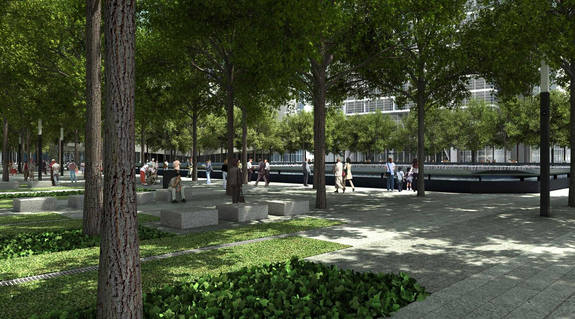 A rendering of the Memorial plaza. Squared Design Lab