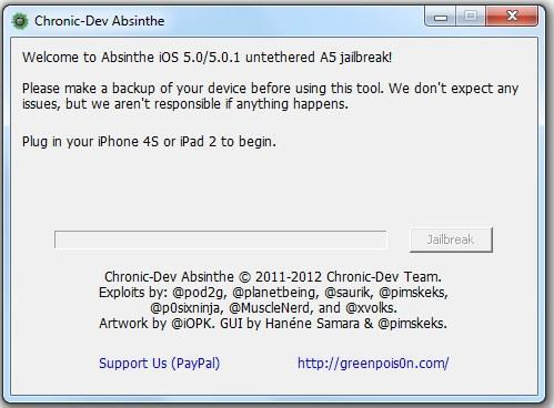 Absinthe A5 Jailbreaker for iPhone 4S / iPad 2 now available for Windows