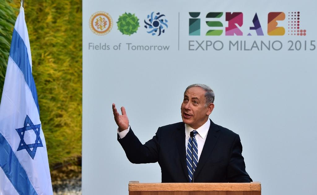 Israeli Prime Minister Benjamin Netanyahu delivers a speech during a visit to the World Expo in Milan on August 27, 2015 (AFP Photo/Giuseppe Cacace)