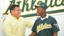 A's prospect makes historic appearance in spring training game