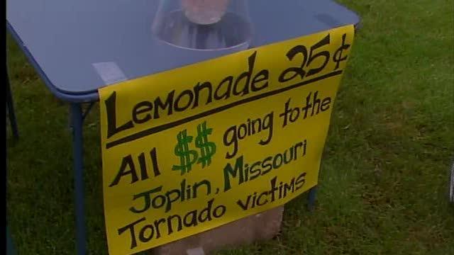 Lemonade stand for tornado victims