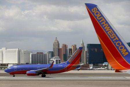 Southwest Airlines planes are seen in front of the Las Vegas strip