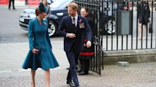 No baby yet: Harry attends Anzac Day service with Kate at Westminster Abbey