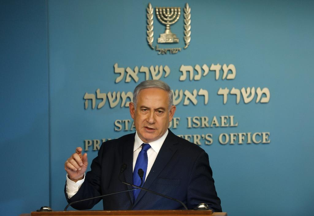 Israeli Prime Minister Benjamin Netanyahu speaks to the press in Jerusalem on April 2, 2018 (AFP Photo/Menahem KAHANA)