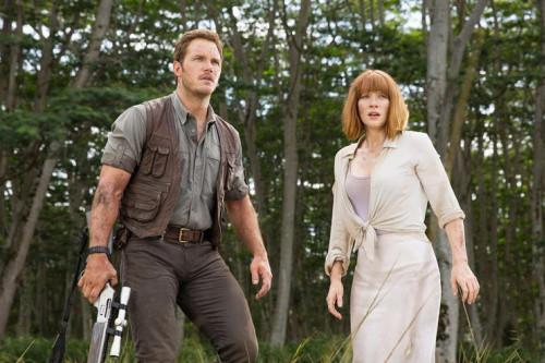 Chris Pratt and Bryce Dallas Howard in <em>Jurassic World.</em>