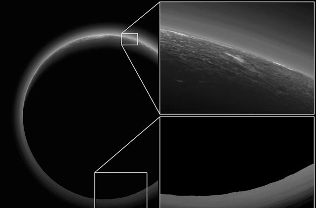 Backlit Pluto photo shows evidence of possible clouds