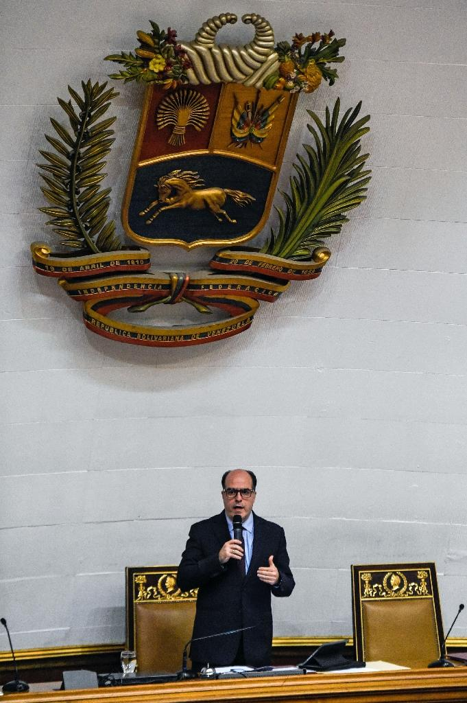 The leader of the Venezuelan opposition-controlled parliament Julio Borges speaks during a session of the Venezuelan National Assembly in Caracas (AFP Photo/FEDERICO PARRA)