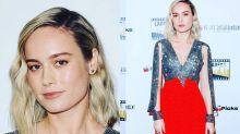 Brie Larson en la alfombra roja como Capitana Marvel