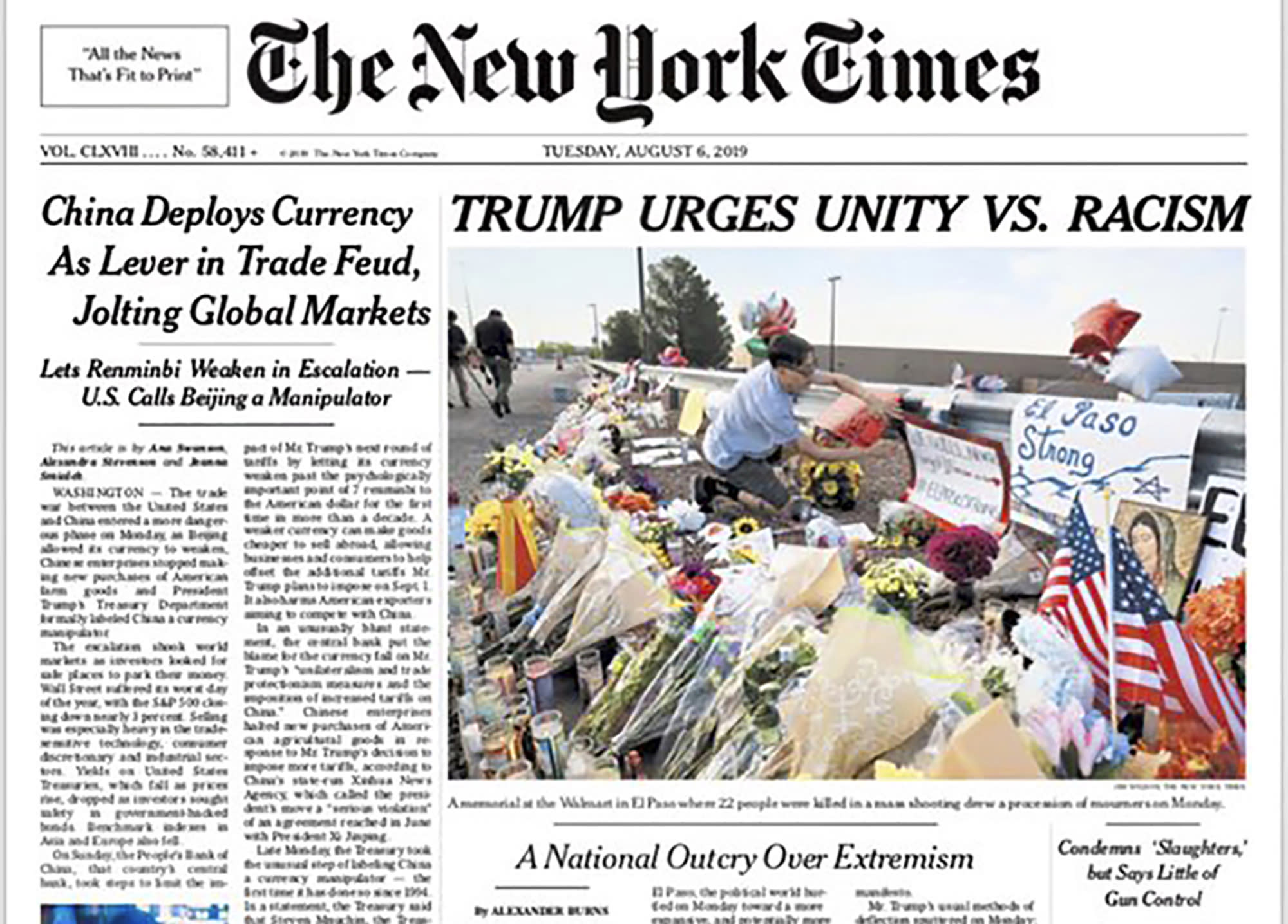 """This image shows a tweeted version of The New York Times front page for Tuesday, Aug. 6, 2019, with a headline that reads: """"""""TRUMP URGES UNITY VS. RACISM."""" The headline, in the paper's first edition, caused an outcry that triggered a new debate over how such tragedies should be covered. (The New York Times via AP)"""