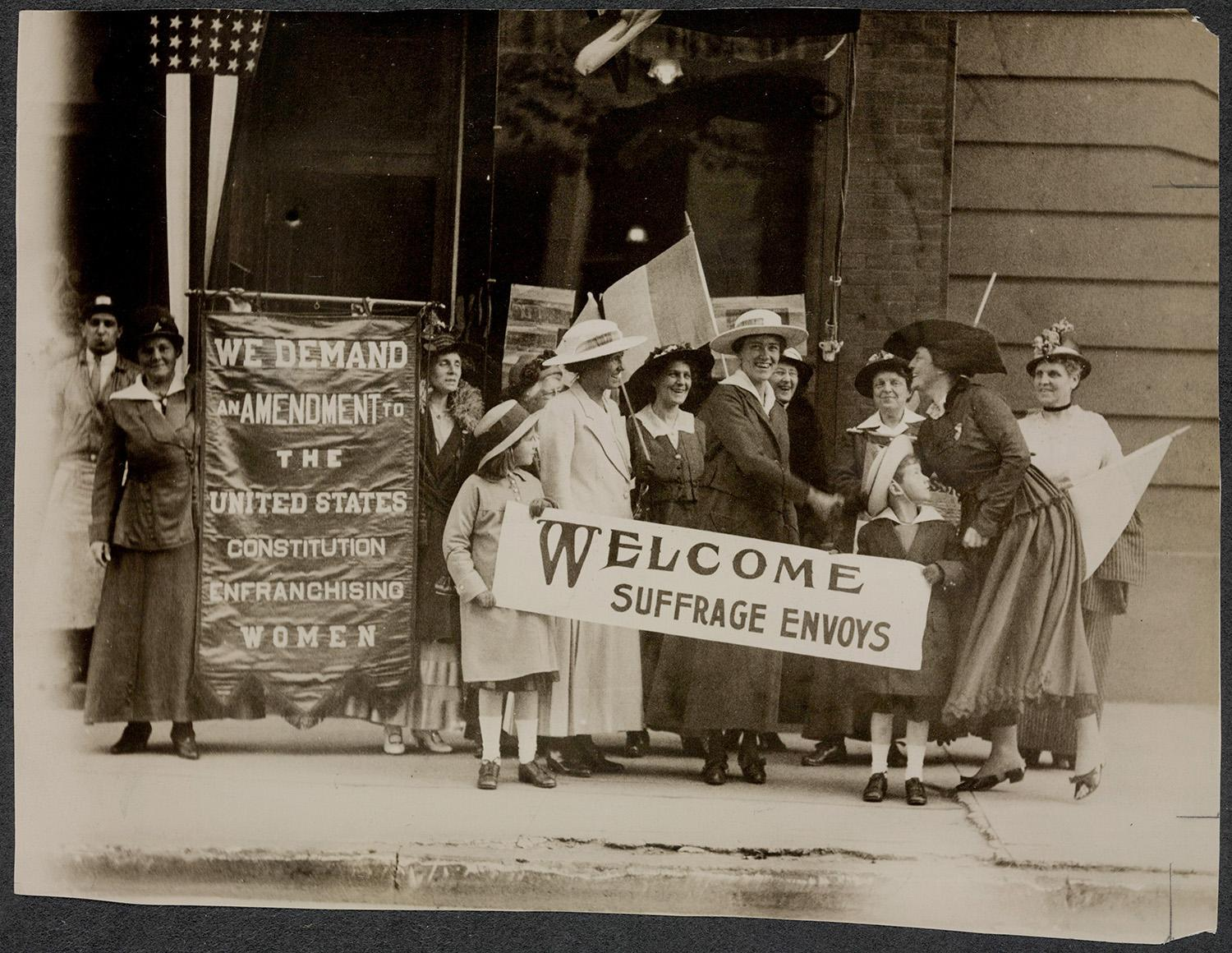 <p>Suffrage envoys from San Francisco greeted in New Jersey on their way to Washington to present a petition to Congress Suffrage envoys from San Francisco greeted containing more than 500,000 signatures, in 1915. (Records of the National Woman's Party/Library of Congress) </p>