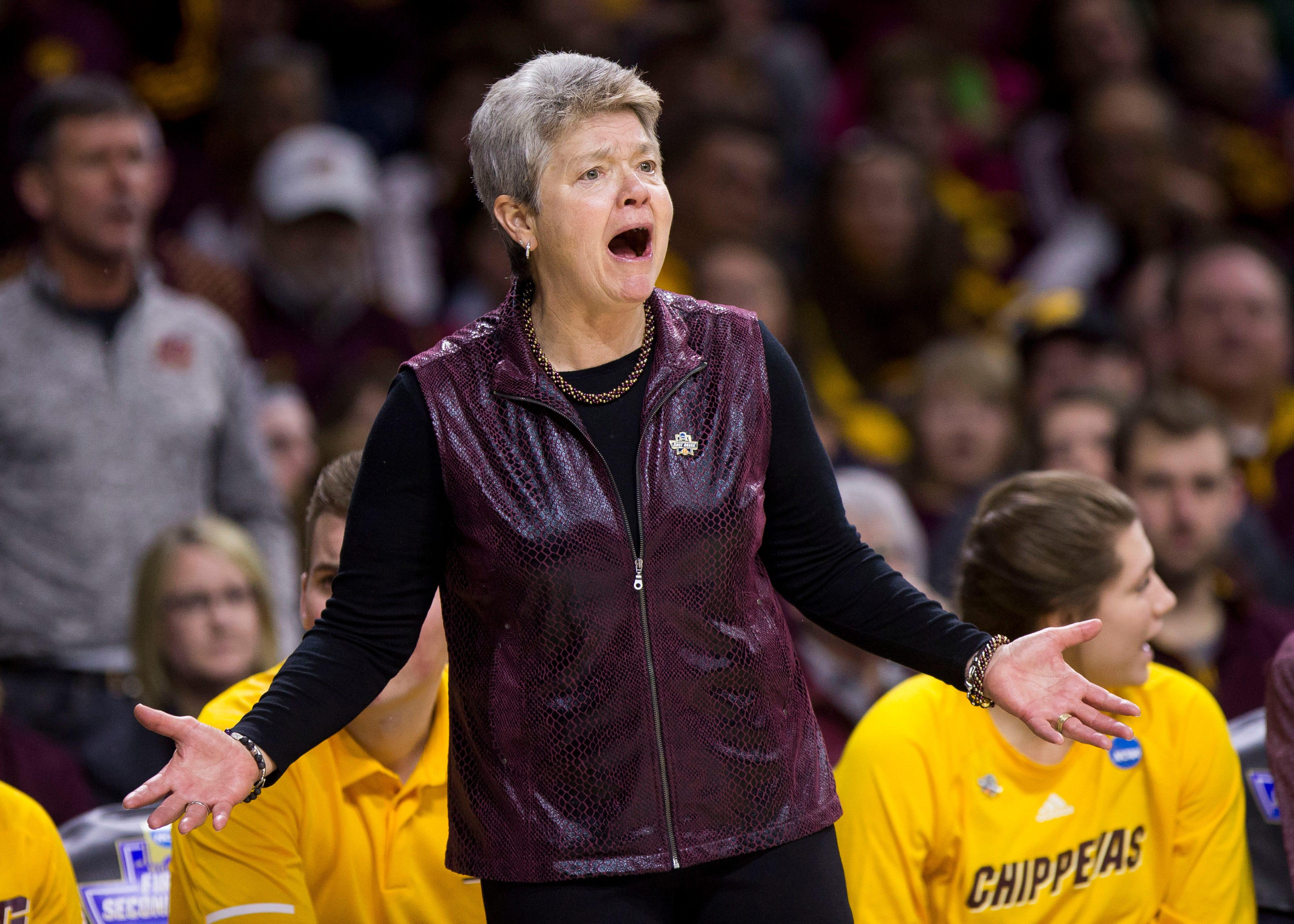 Central Michigan head coach Sue Guevara questions a call during a first-round game against Michigan State in the NCAA women's college basketball tournament in South Bend, Ind., Saturday, March 23, 2019. Michigan State won 88-87.