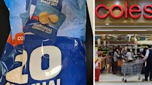 Woman's baffling discovery in bag of Coles-branded potato chips