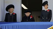 The Queen is joined by Camilla and Kate as she pays tribute on Remembrance Sunday