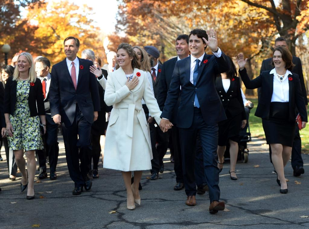 Canadian Prime Minister Justin Trudeau and his wife Sophie Gregoire-Trudeau, seen in Ottawa on November 4, 2015, will visit Washington and the White House in March 2016, the Obama administration said December 28 (AFP Photo/Sean Kilpatrick)