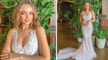 Bachelor contestant Abbie Chatfield glows in wedding gown