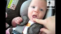 Cute Baby Makes Funny Sound When Mom Wiggles Finger on Lips
