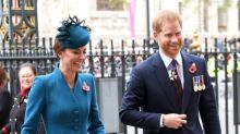Kate Middleton and Prince Harry all smiles at Anzac Day service — despite royal rift rumours