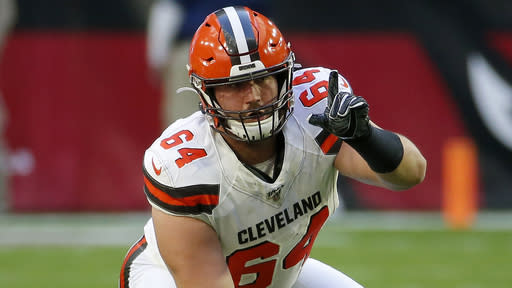 Cleveland Browns center JC Tretter (64) lines up against the Arizona Cardinals during the first half of an NFL football game, Sunday, Dec. 15, 2019, in Glendale, Ariz. (AP Photo/Rick Scuteri)