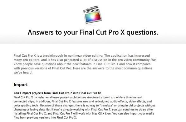 Apple posts Final Cut Pro X FAQ following backlash, promises multicamera support and other updates