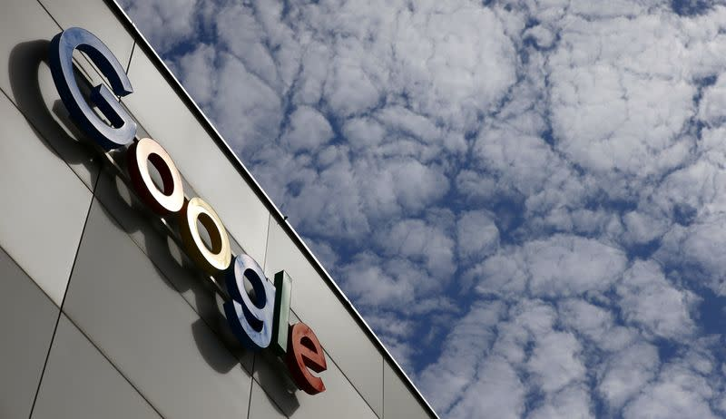Logo of Google is seen at an office building in Zurich