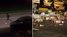 Watch: 'Immigrants' spill fruit and veg across busy road after fleeing from back of lorry