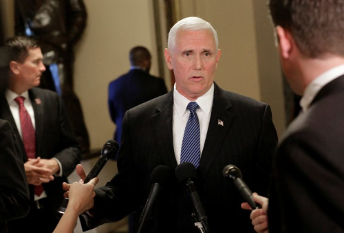 Vice President Mike Pence speaks to reporters at the Capitol on May 10, 2017.