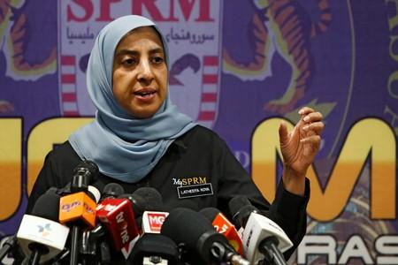 Malaysian Anti-Corruption Commission (MACC) Chief Commissioner Latheefa Koya speaks during a news conference in Putrajaya