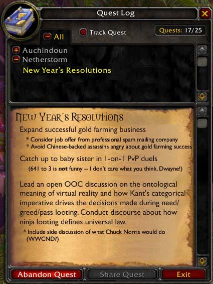 A New Year's quest log