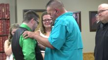 Couple meets recipient of 11-year-old son's heart on their wedding day: 'To me, this is where it belongs'