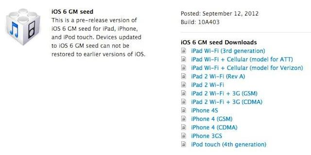 iOS 6 GM seed now available for developers