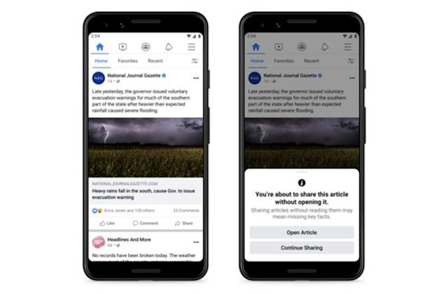 Facebook test encourages people to read articles before sharing
