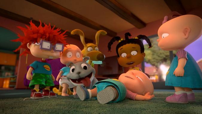 Pictured: Nancy Cartwright as Chuckie Finster, EG Daily as Tommy Pickles, Cree Summer as Susie Carmichael and Kath Soucie as Phil and Lil DeVille of the Paramount+ series RUGRATS. Photo Cr: