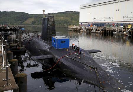 Nuclear submarine is seen at the Royal Navy's submarine base at Faslane