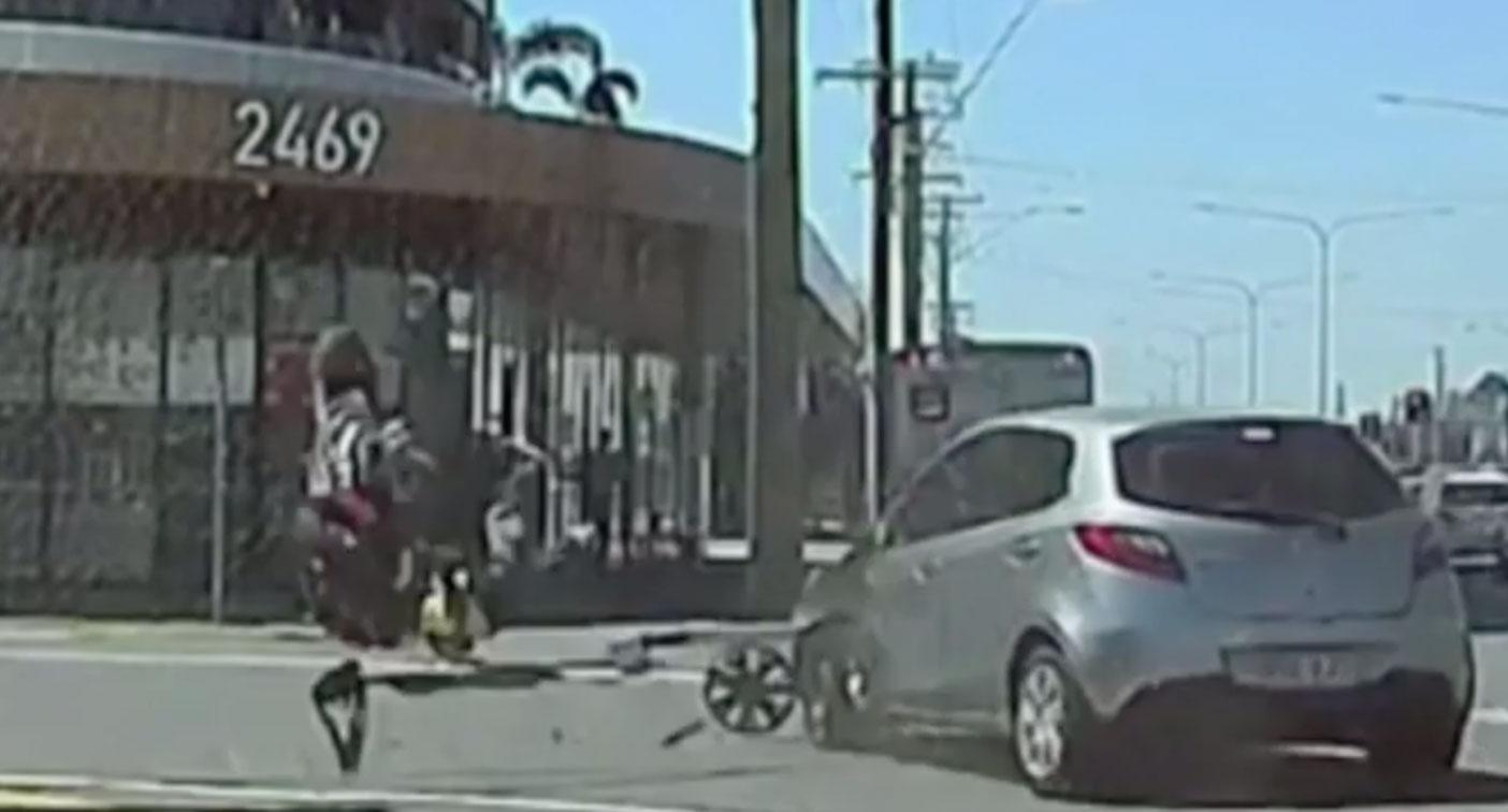 Shocking dashcam footage shows motorbike rider thrown through the air