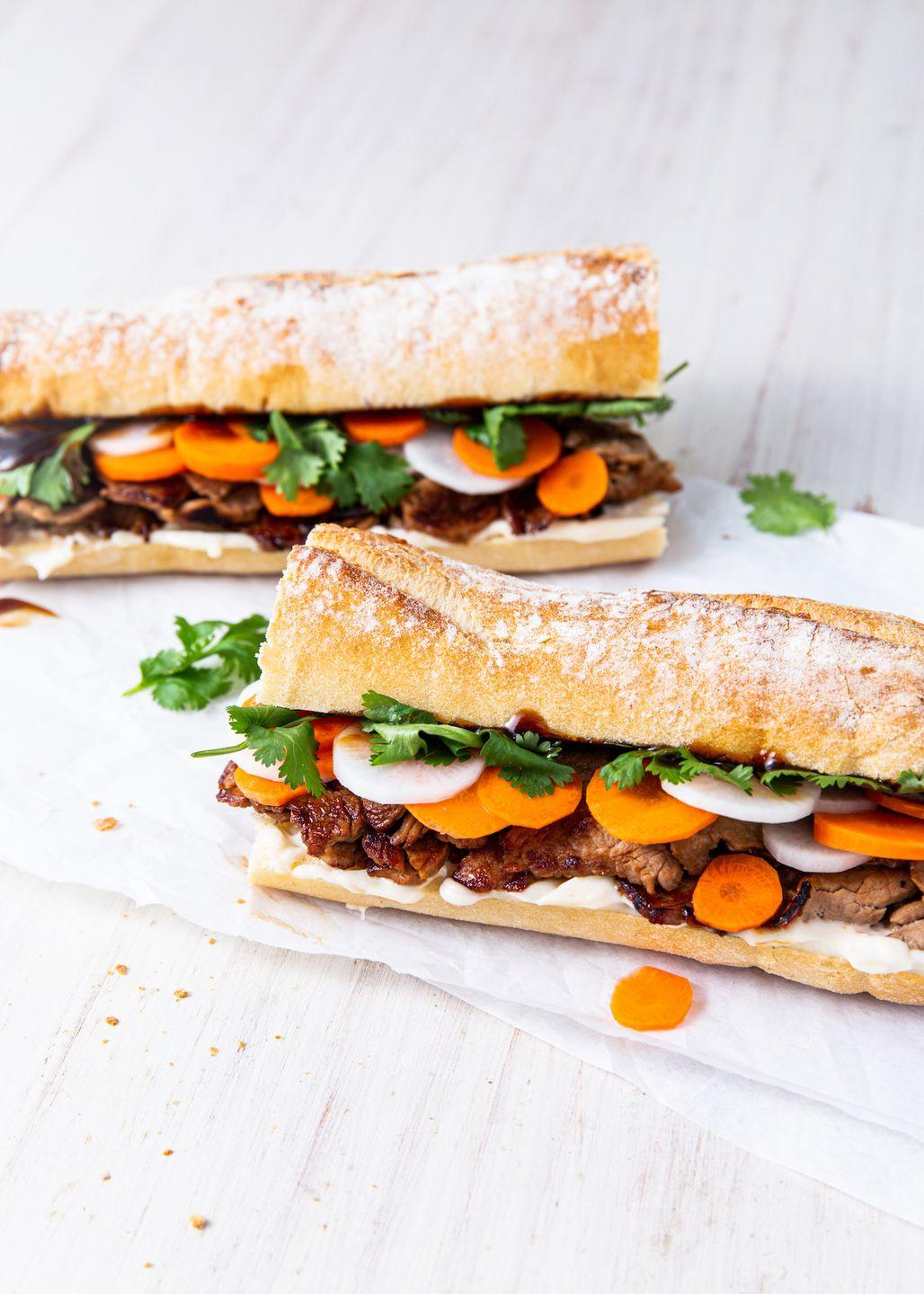 "<p>We <em>love</em> this sandwich — and we're confident that you'll love it, too.</p><p>Get the recipe from <a href=""https://www.delish.com/cooking/recipe-ideas/a30781614/banh-mi-recipe/"" rel=""nofollow noopener"" target=""_blank"" data-ylk=""slk:Delish."" class=""link rapid-noclick-resp"">Delish.</a></p>"