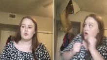 Woman's TikTok video interrupted by mum falling through ceiling