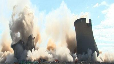 Raw Video: Controlled demolition in England