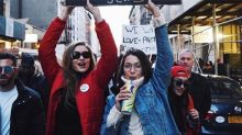 Gigi and Bella Hadid Protest Immigration Ban in Streets of NYC