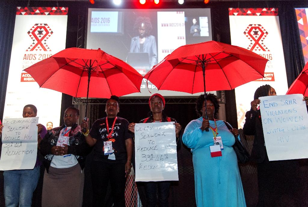 Activists protest during the closing ceremony of the International AIDS conference in Durban on July 22, 2016 (AFP Photo/Rajesh Jantilal)