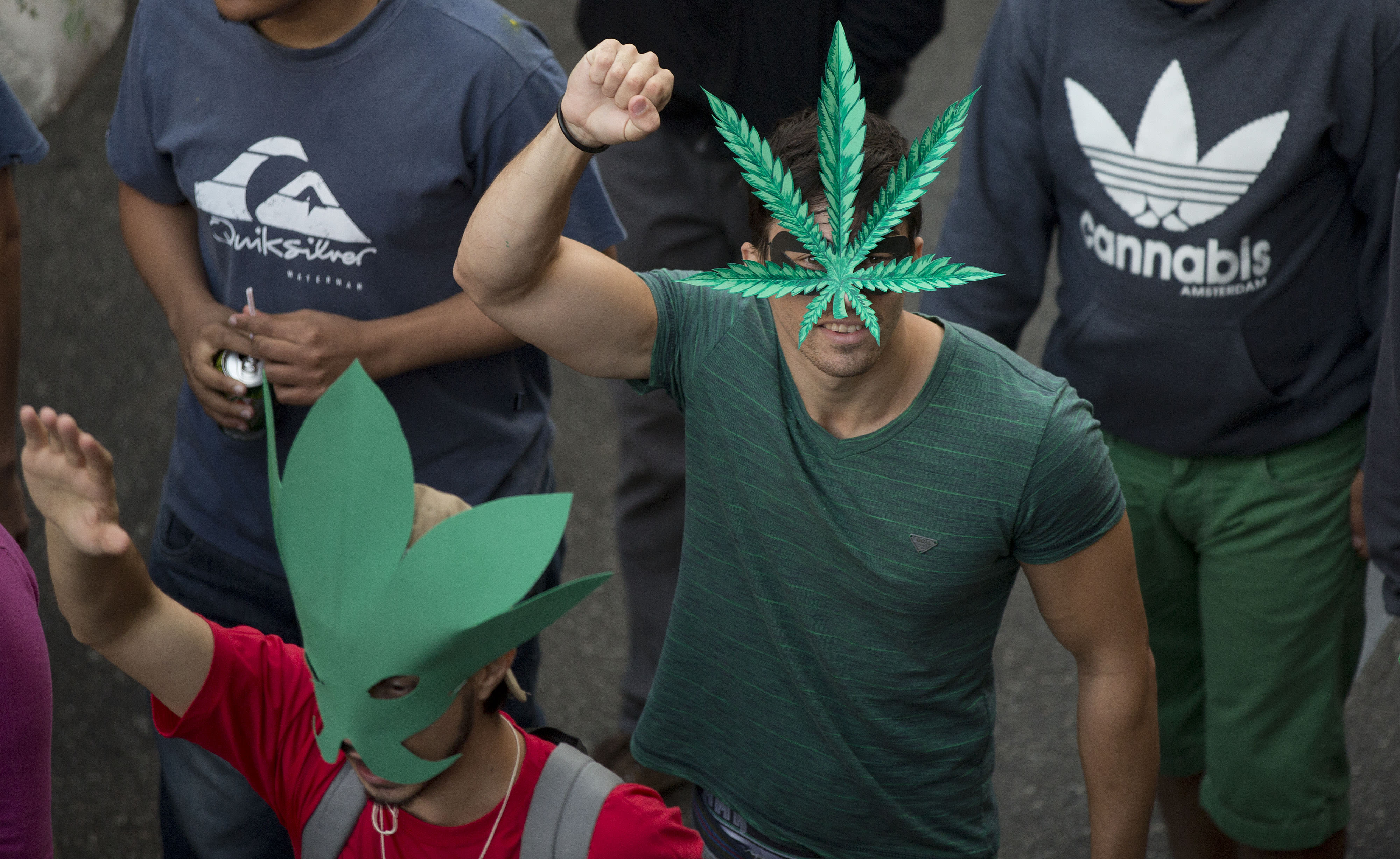 Demonstrators wear masks in the shape of a cannabis leaf at a legalization of marijuana march in Sao Paulo, Brazil, Saturday, April 26, 2014. Brazilian police say about 2,000 people have gathered in downtown Sao Paulo in a demonstration demanding the legalization of the production and sale of marijuana in Latin America's largest country. (AP Photo/Andre Penner)